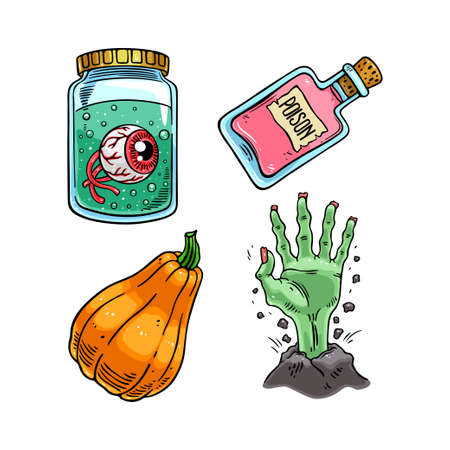 Set of cute halloween icons. Vector illustration