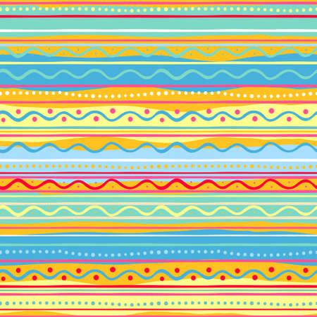 Seamless striped bright colorful doodle pattern Illustration
