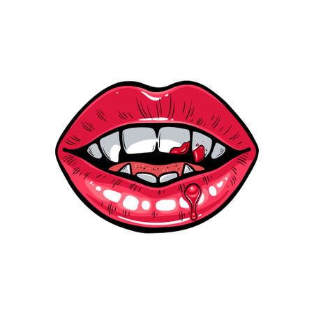 Illustration of vampire lips with blood. Halloween bloody sexy mouth