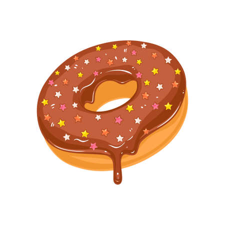 Vector donut icon. Sugar chocolate glazed donut with stars sprinkles