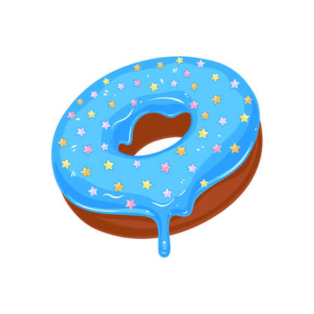 Vector donut icon. Sugar blue glazed donut with stars sprinkles