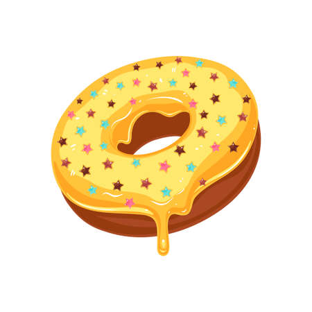 Vector donut icon. Sugar yellow glazed donut with stars sprinkles