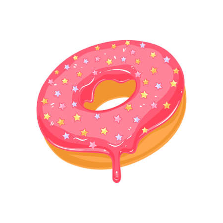 Vector donut icon. Sugar pink glazed donut with stars sprinkles