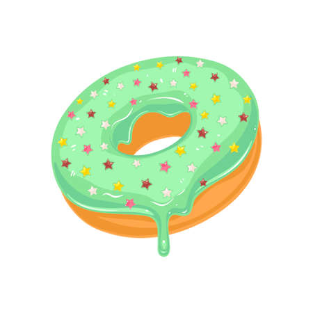Vector donut icon. Sugar green glazed donut with stars sprinkles