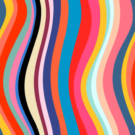 Abstract seamless colorful stripes. Wave pattern. Vector background