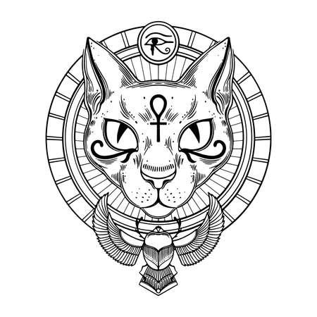 Egyptian goddess cat Bastet with sacred symbols of ankh and scarab. Vector illustration