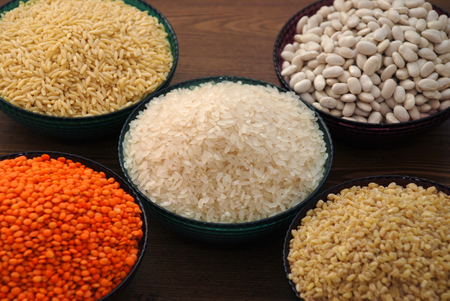 cereals and pulses. Rice, Lentils, haricot bean, noodles and barley groats, Stock Photo