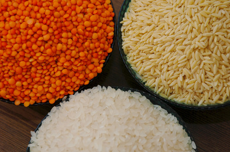 pulses: cereals and pulses. Rice, Lentils, and barley noodles Stock Photo
