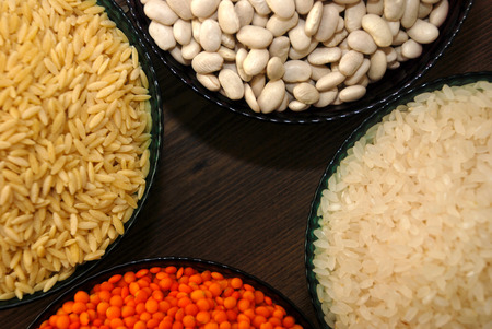 haricot: cereals and pulses. Rice, Lentils, haricot bean and barley noodles