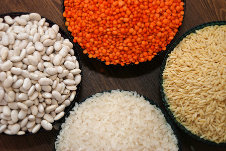pulses: cereals and pulses. Rice, Lentils, haricot bean and barley noodles