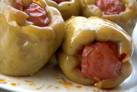 Stuffed peppers. Stuffed green pepper, a turkish special meal, also known in balkans and middle east Standard-Bild