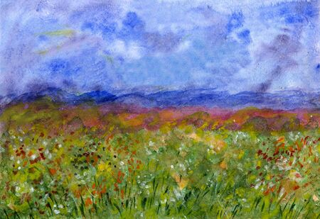 Abstract watercolor illustration - field with flowers and stormy sky