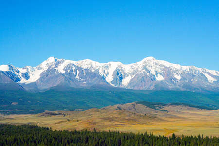 Beautiful mountain landscape. Snow-capped mountains, steppe and conifers. Russia, Altai mountains, Chuysky ridge