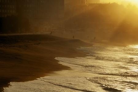 urbanism: Riazor beach in the city at sunset Corunna Spain Stock Photo