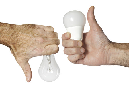 incandescence: led bulb versus incandescence bulb isolated with clipping path Stock Photo
