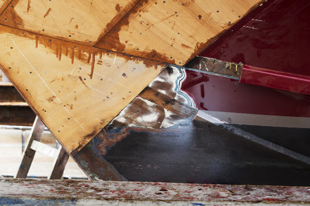 pleasure craft: wooden yacht in small shipyard for repair and restoration its hull