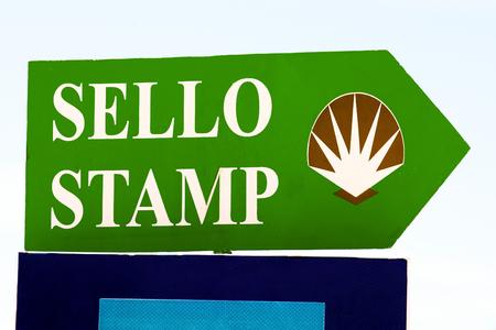 camino de santiago: shell sign marks for pilgrims in Camino de  Santiago ,Galicia, Spain Stock Photo