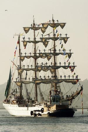 Tall Ships Races August 10, 2012 in Coruna, Spain; Sail training ship Cuauhtemoc, Mexico
