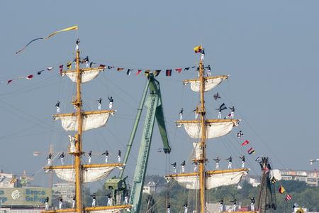 Tall Ships races August 10 , 2012 in Coruna , Spain ; Guayas sail training ship , Ecuador Editorial