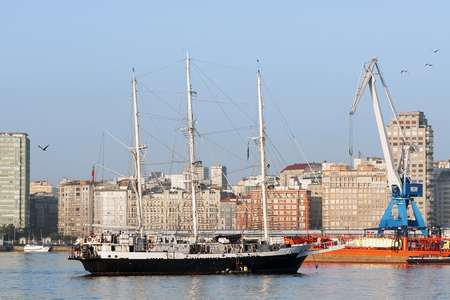 Tall Ships races August 8 , 2012 in Coruna , Spain ; Lord Nelson  sail ship , United Kingdom Editorial