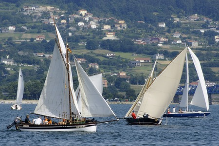 Redes Village , Galicia, Spain ,  21 julio 2012 . Traditional sailing  boats racing regatta in bays of Ares and Betanzos  in La Coruna province