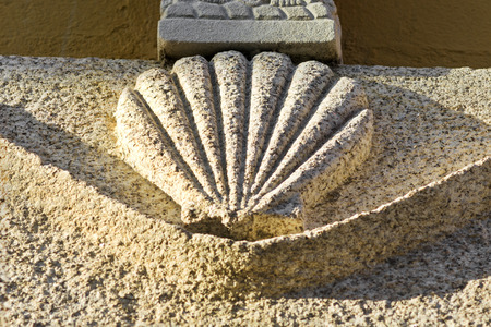 way of st  james: Way of St James  sign shells  marks for pilgrims to Compostela Cathedral ,Galicia, Spain