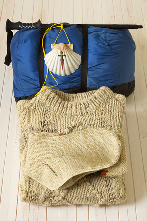 way of st  james: Pilgrim shell, sleeping bag and clothes for Way of St James to Compostela Cathedral, Spain. Santiagos road