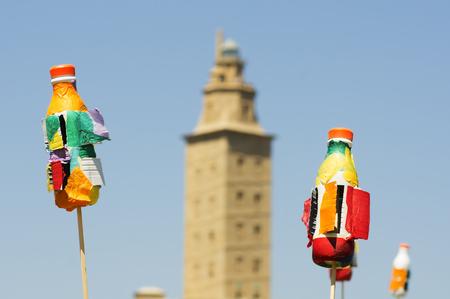 torre: recycled plastic bottles shaped Tower of Hercules, Torre de Hercules