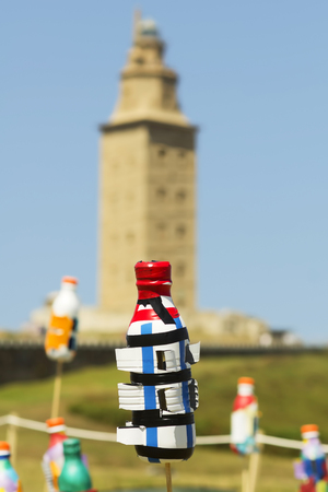 hercules: recycled plastic bottles shaped Tower of Hercules, Torre de Hercules