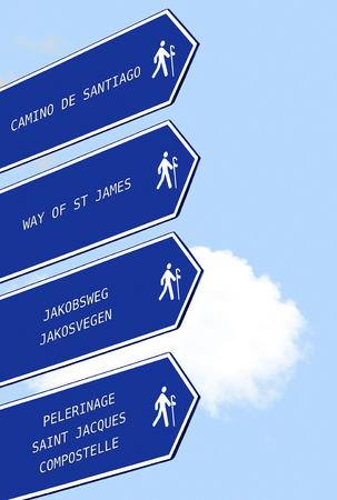 compostela: signals  for pilgrims in Way of St James ,  Camino de  Santiago,  in multiple languages ,  Compostela , Galicia, Spain
