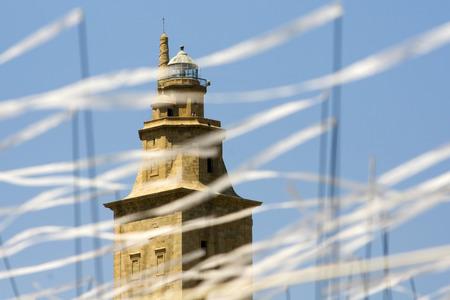 hercules: Tower of Hercules, Torre de Hercules, with white ribbons unfocused Stock Photo