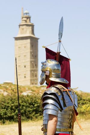 legionaries: Tower of  hercules with warriors soldiers legionaries roman