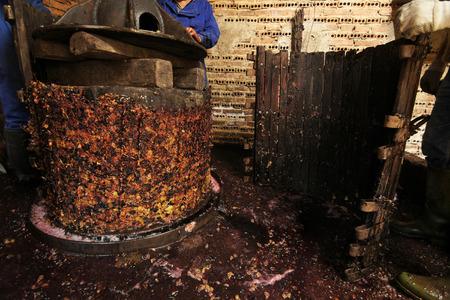winepress: making wine of grape farmers in traditional winepress in Villarejo de Orbigo, Leon, Spain; With slow shutter flash spedd