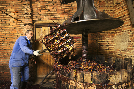 making wine of grape farmers in traditional winepress in Villarejo de Orbigo, Leon, Spain; With slow shutter flash spedd