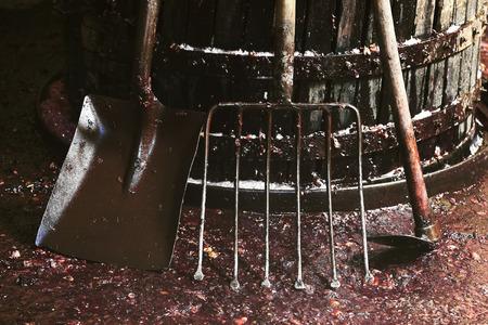 winepress: making wine of grape farmers in traditional winepress in Villarejo de Orbigo, Leon, Spain Stock Photo