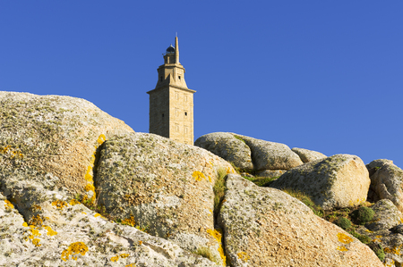 rehabilitated: Hercules tower, Tower of Hercules, Roman lighthouse Stock Photo