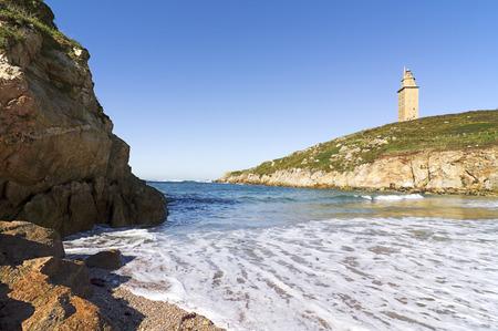 groyne: Hercules Tower Beach Tower of Hercules, Roman lighthouse