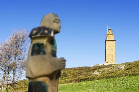 groyne: Hercules tower, Tower of Hercules, Roman lighthouse Stock Photo