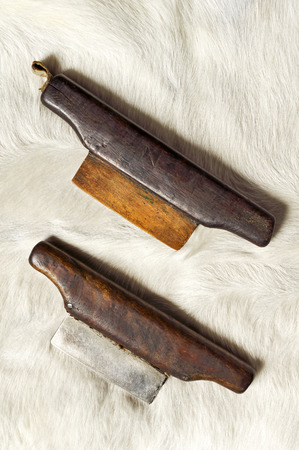 scrapers: dull blade scrapers  to flatten  the leather in old adobe  tannery
