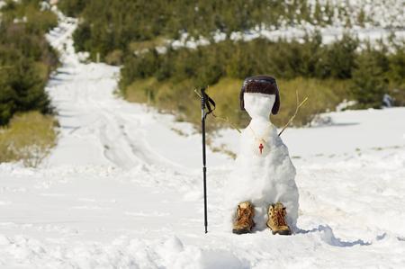 compostela: snowman pilgrim with scallop shell sign in the Way of St James,  Camino de  Santiago,  Compostela, Galicia, Spain