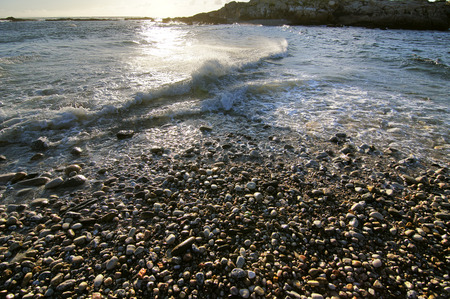 waves  pebble: waves on the shore of  pebble  beach at sunset