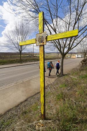 compostela: cross with scallop symbol in Astorga , Way of St James,  Camino de  Santiago, to Compostela , Spain