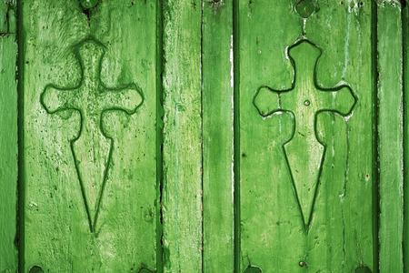 way of st  james: St James cross sign for pilgrims in Way of St James,  Camino de  Santiago, Compostela, Spain