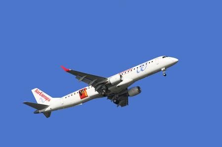 Coruna , Spain - June 10th, 2016:  Air France Airbus EC-LKM  ready for landing  in Alvedro Airport in Coruna, Spain