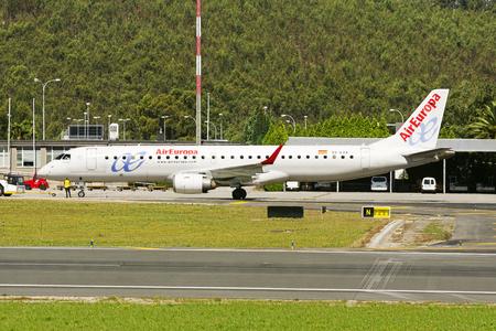 Coruna , Spain - August 2, 2016 : Air Europa plane in  terminal of Alvedro airport , Coruna, Spain