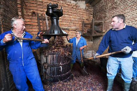 farmers making wine of grape  in traditional winepress  in  Villarejo de Orbigo, Leon , Spain , slow sync flash Stock Photo
