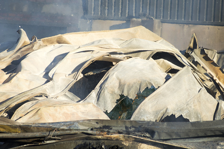 combustion: industrial warehouse fire Stock Photo