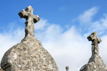 stone crosses in cemetery