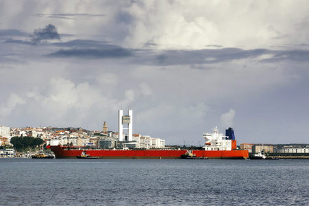 taker: vessel in Coruna port , Spain , crude oil tanker