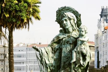 Coruna, Spain, Europe; July 27, 2012: Carmen virgin, patron of the sailors, sculptor Suso León, made in bronze